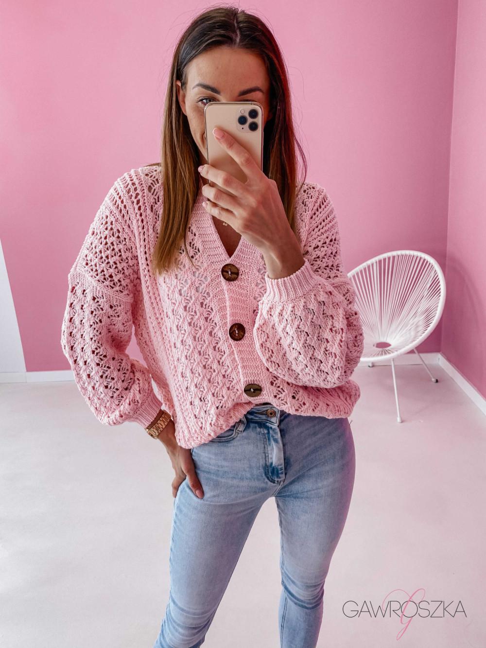 Sweter ażurowy premium - różowy 1