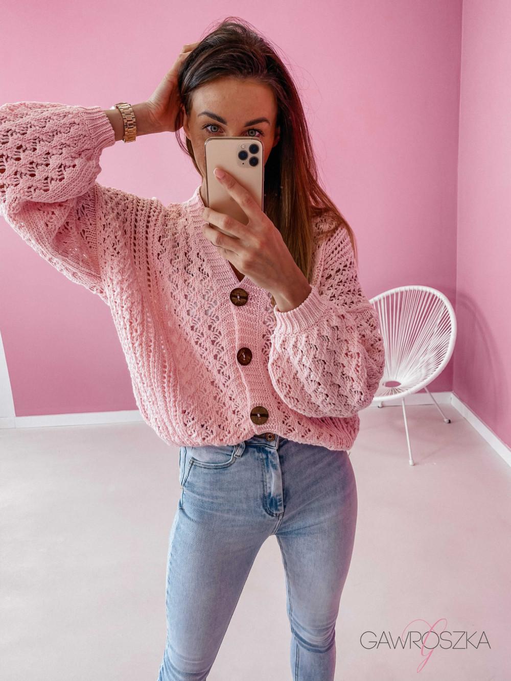 Sweter ażurowy premium - różowy 2