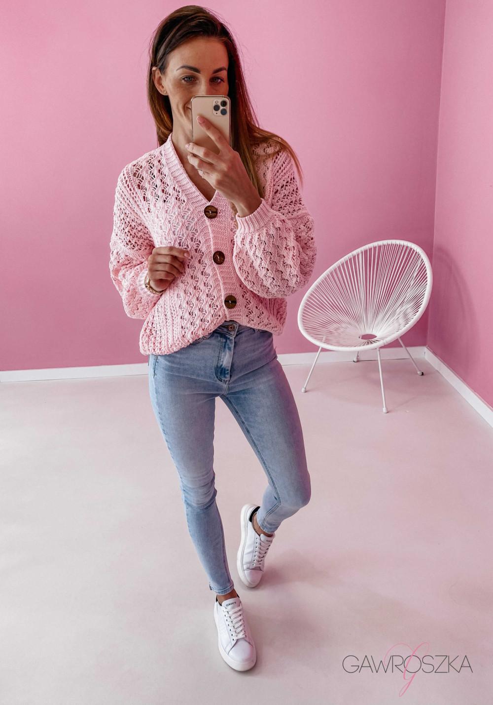 Sweter ażurowy premium - różowy 3