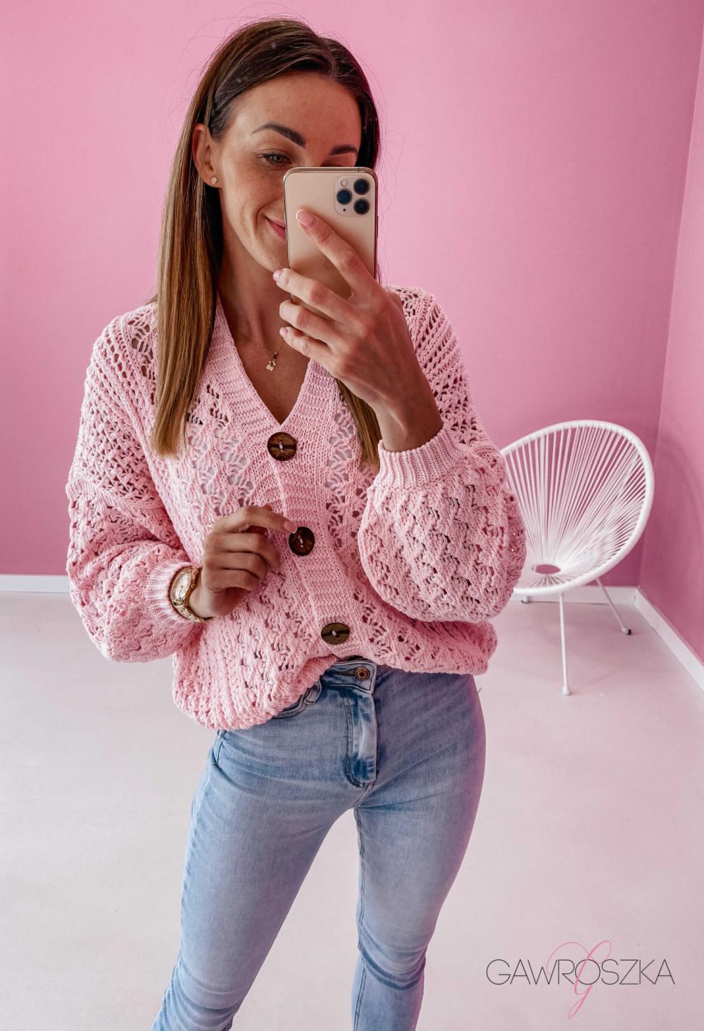 Sweter ażurowy premium - różowy 4