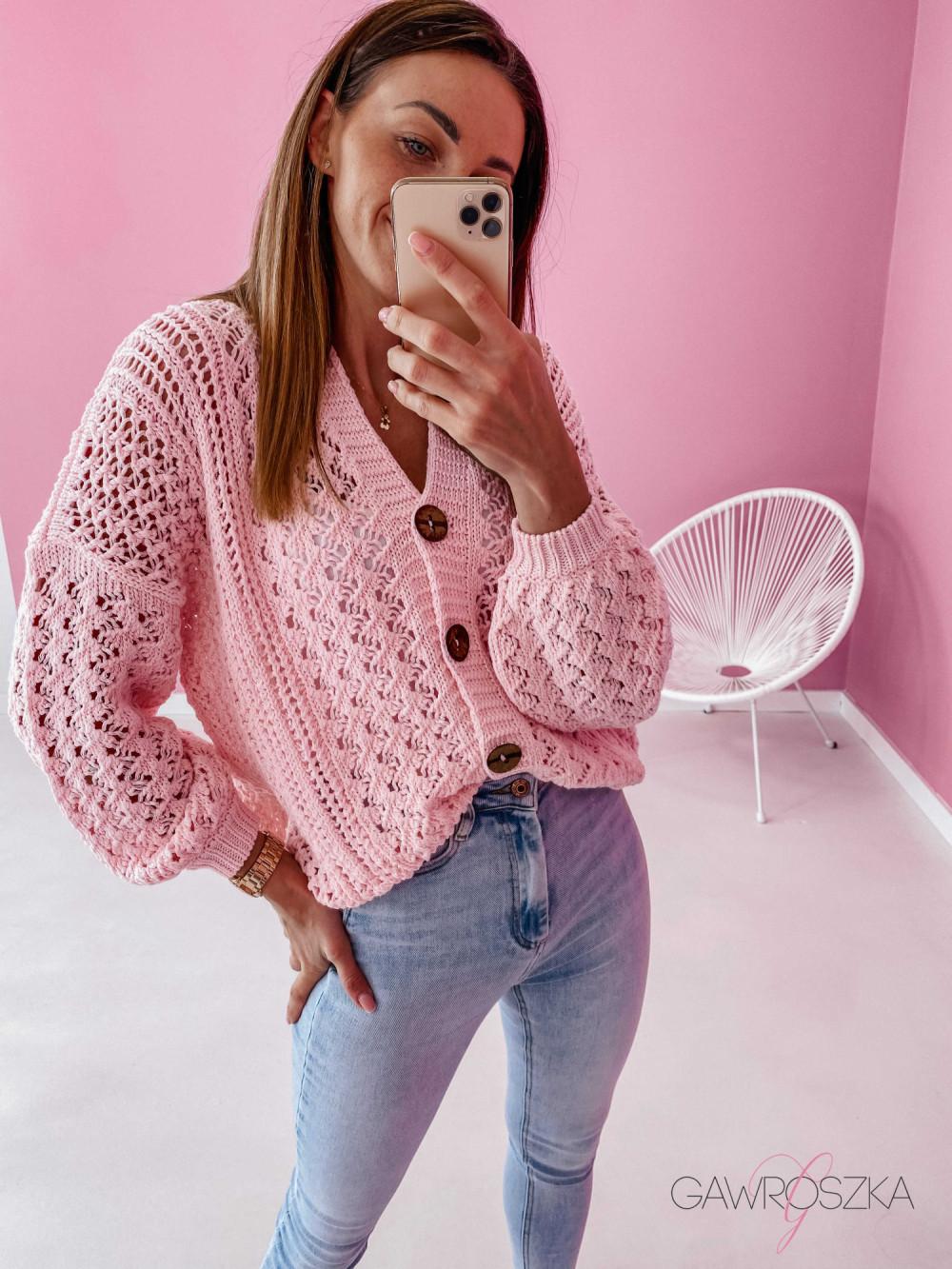 Sweter ażurowy premium - różowy 5