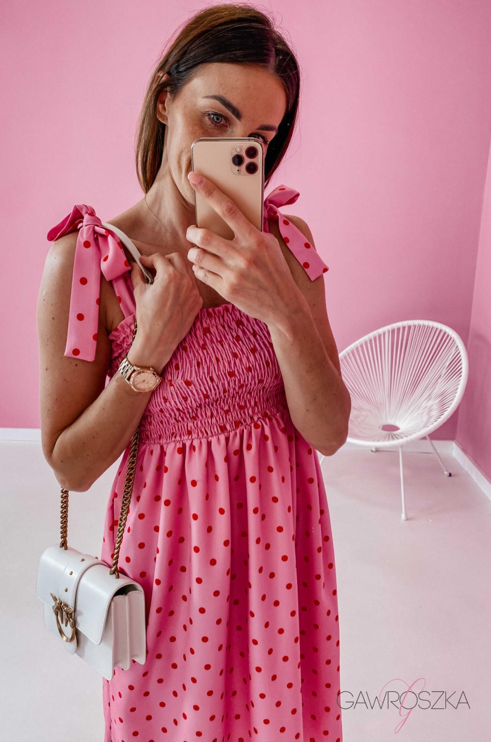 Sukienka z wiązaniem Lili - różowa w groszki 1