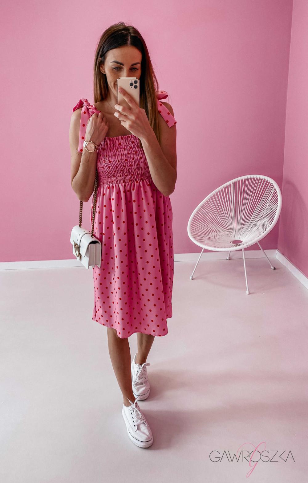 Sukienka z wiązaniem Lili - różowa w groszki 2