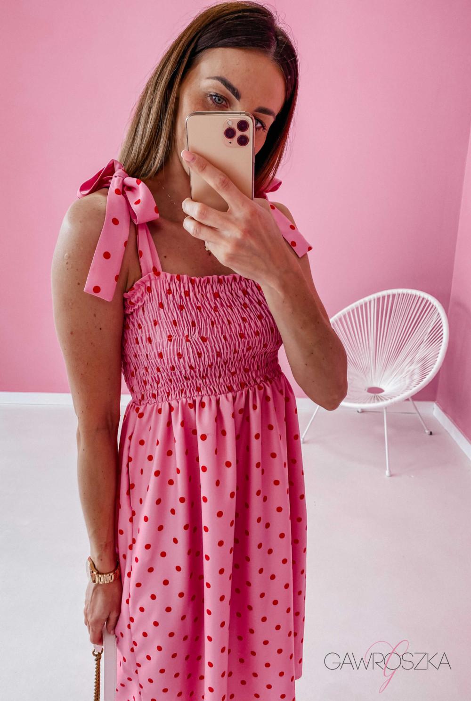 Sukienka z wiązaniem Lili - różowa w groszki 4