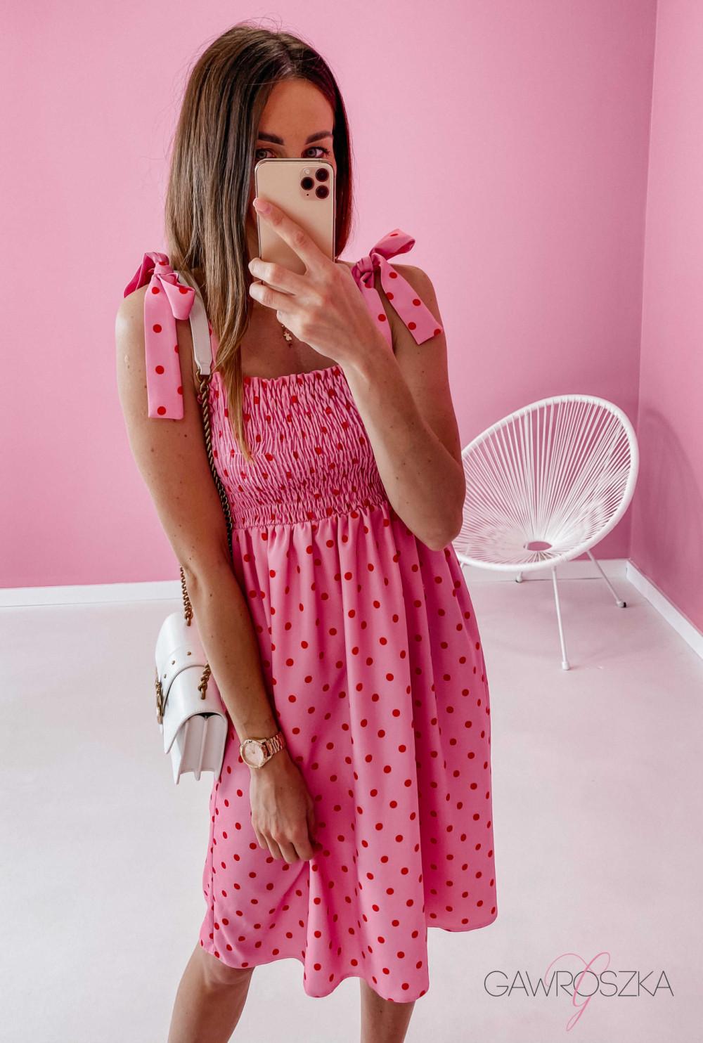Sukienka z wiązaniem Lili - różowa w groszki 5