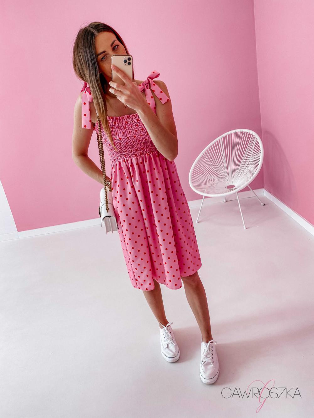 Sukienka z wiązaniem Lili - różowa w groszki 6