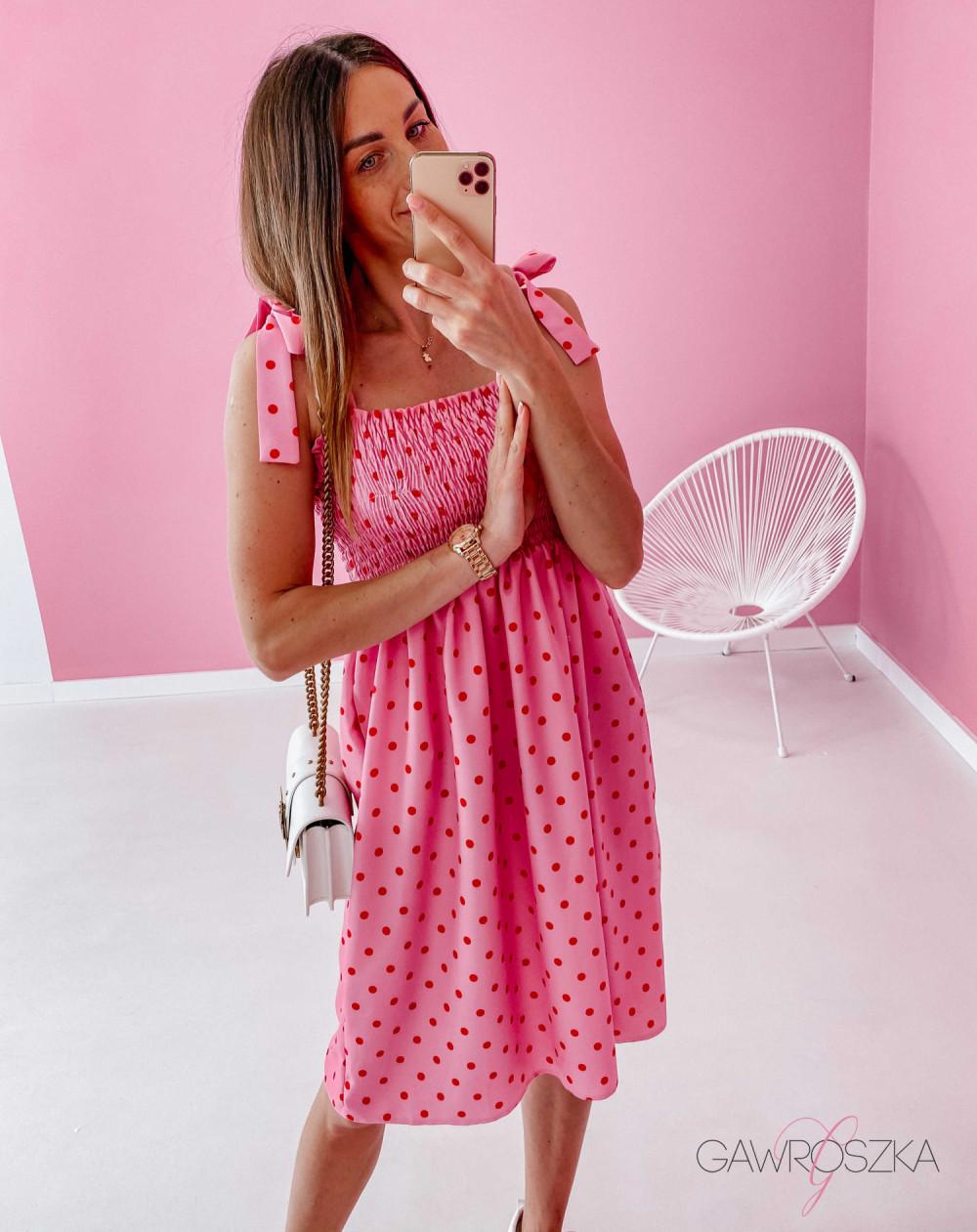 Sukienka z wiązaniem Lili - różowa w groszki 7