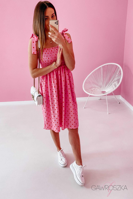 Sukienka z wiązaniem Lili - różowa w groszki 8