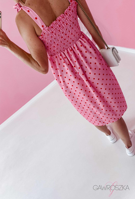 Sukienka z wiązaniem Lili - różowa w groszki 9