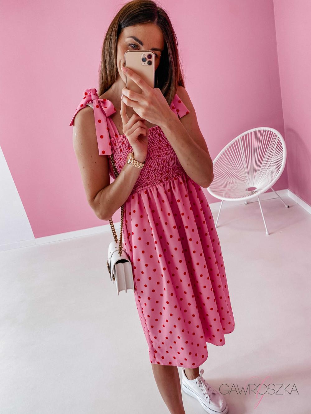 Sukienka z wiązaniem Lili - różowa w groszki 10