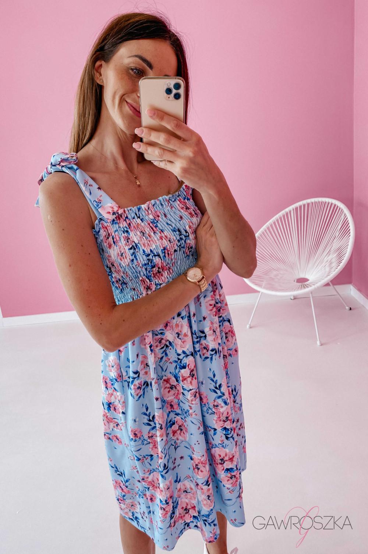 Sukienka z wiązaniem Lili - błękitna w kwiaty 8