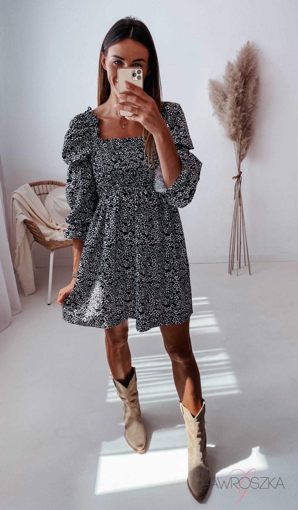 Sukienka Pola - czarna w białe kwiatuszki 3