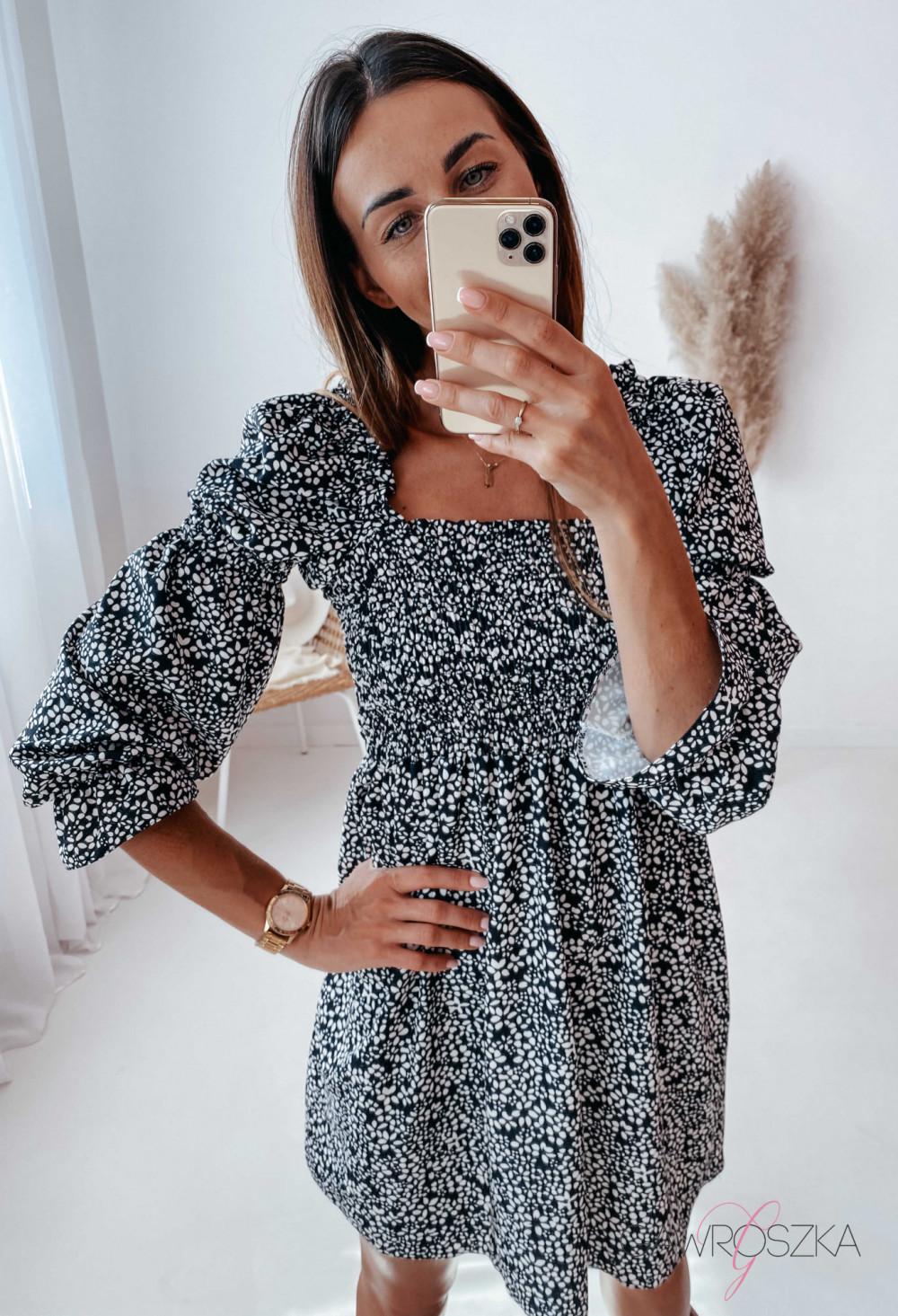 Sukienka Pola - czarna w białe kwiatuszki 9