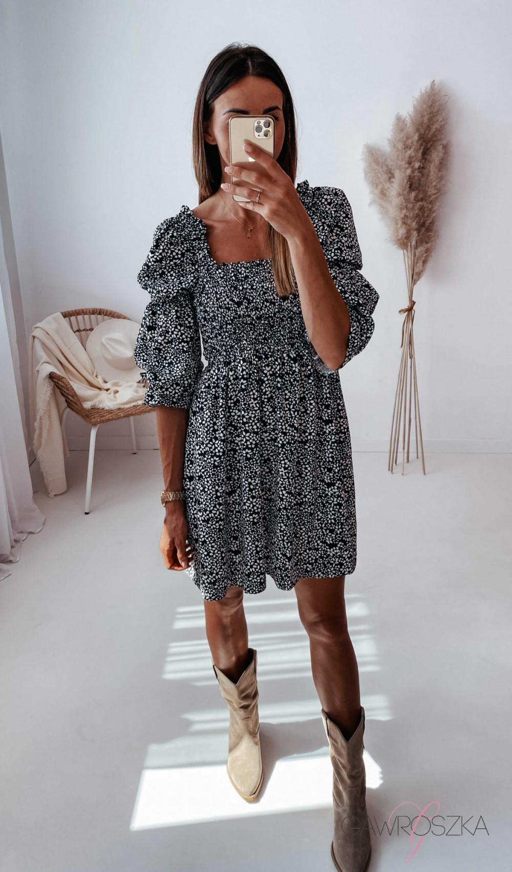 Sukienka Pola - czarna w białe kwiatuszki 11