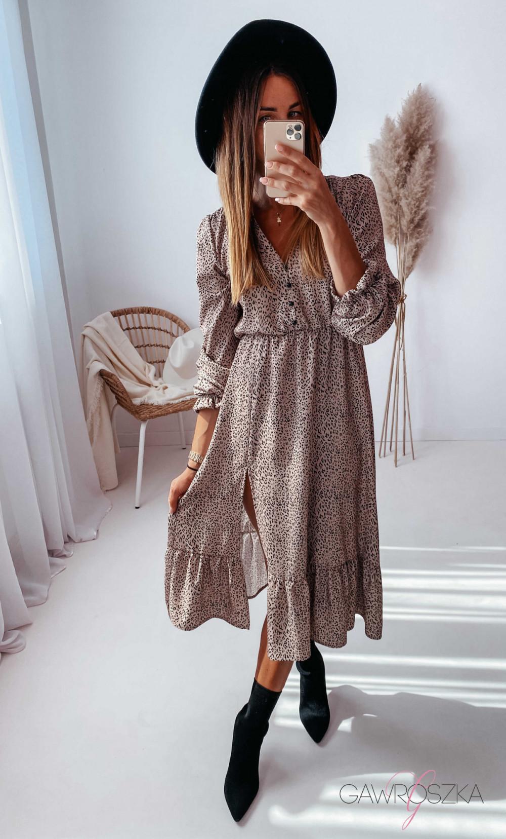 Sukienka Megi Midi Premium - beżowa w centki 1