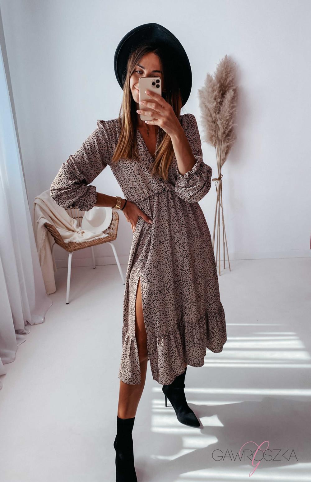 Sukienka Megi Midi Premium - beżowa w centki 18
