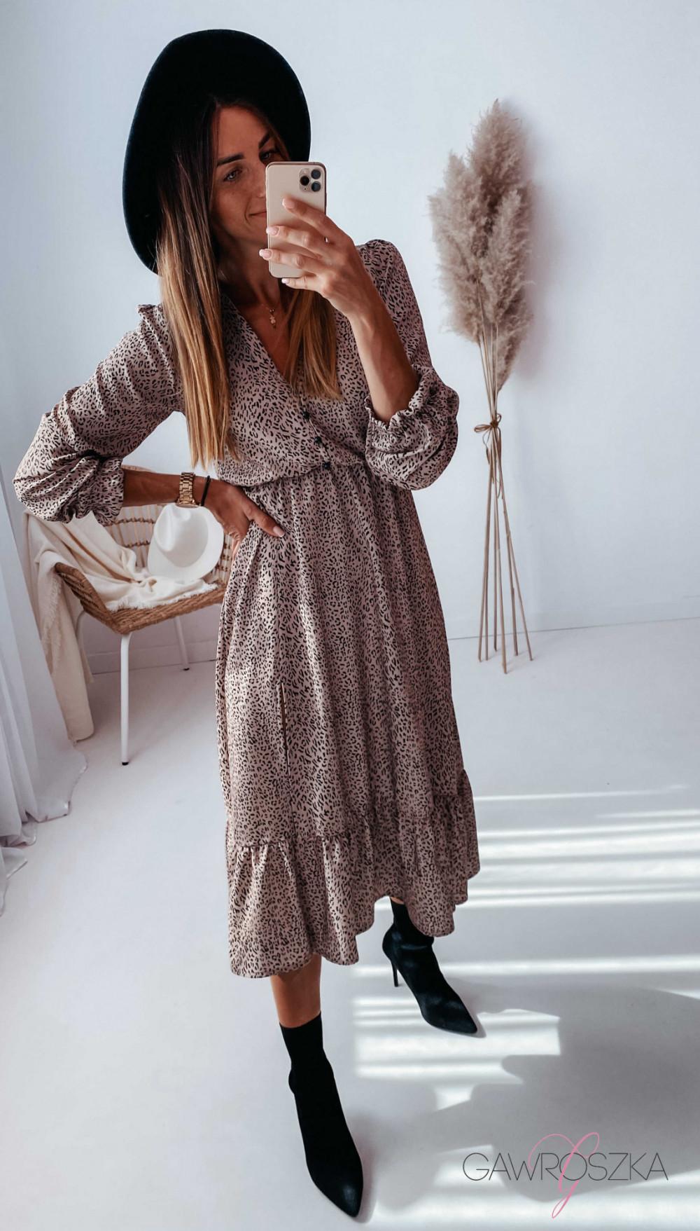 Sukienka Megi Midi Premium - beżowa w centki 16