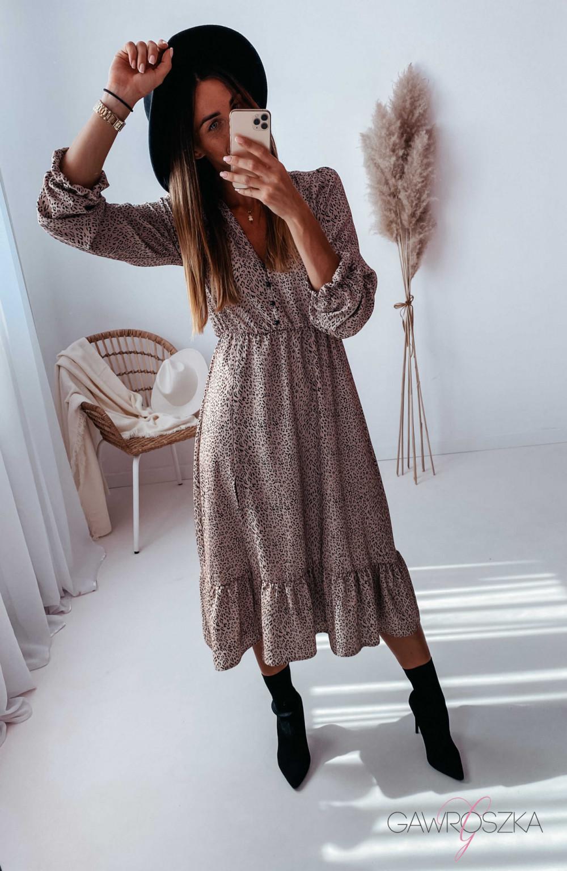 Sukienka Megi Midi Premium - beżowa w centki 13