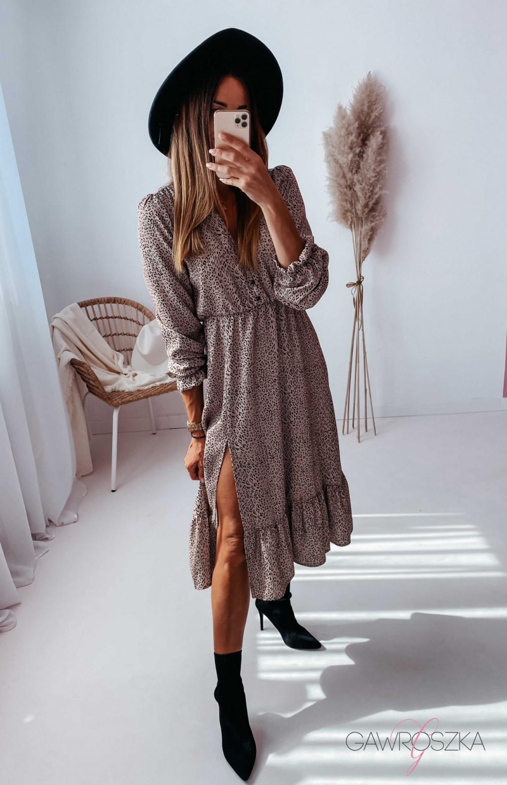 Sukienka Megi Midi Premium - beżowa w centki 10