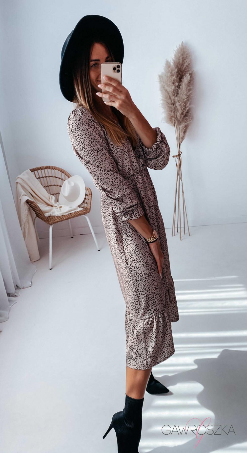 Sukienka Megi Midi Premium - beżowa w centki 4