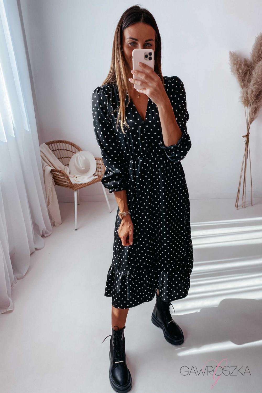 Sukienka Megi Midi Premium - czarna w białe groszki 2