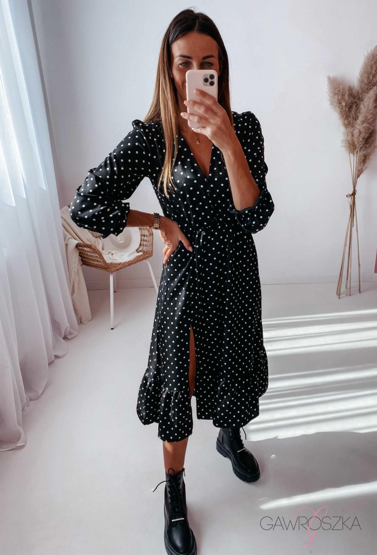 Sukienka Megi Midi Premium - czarna w białe groszki 3