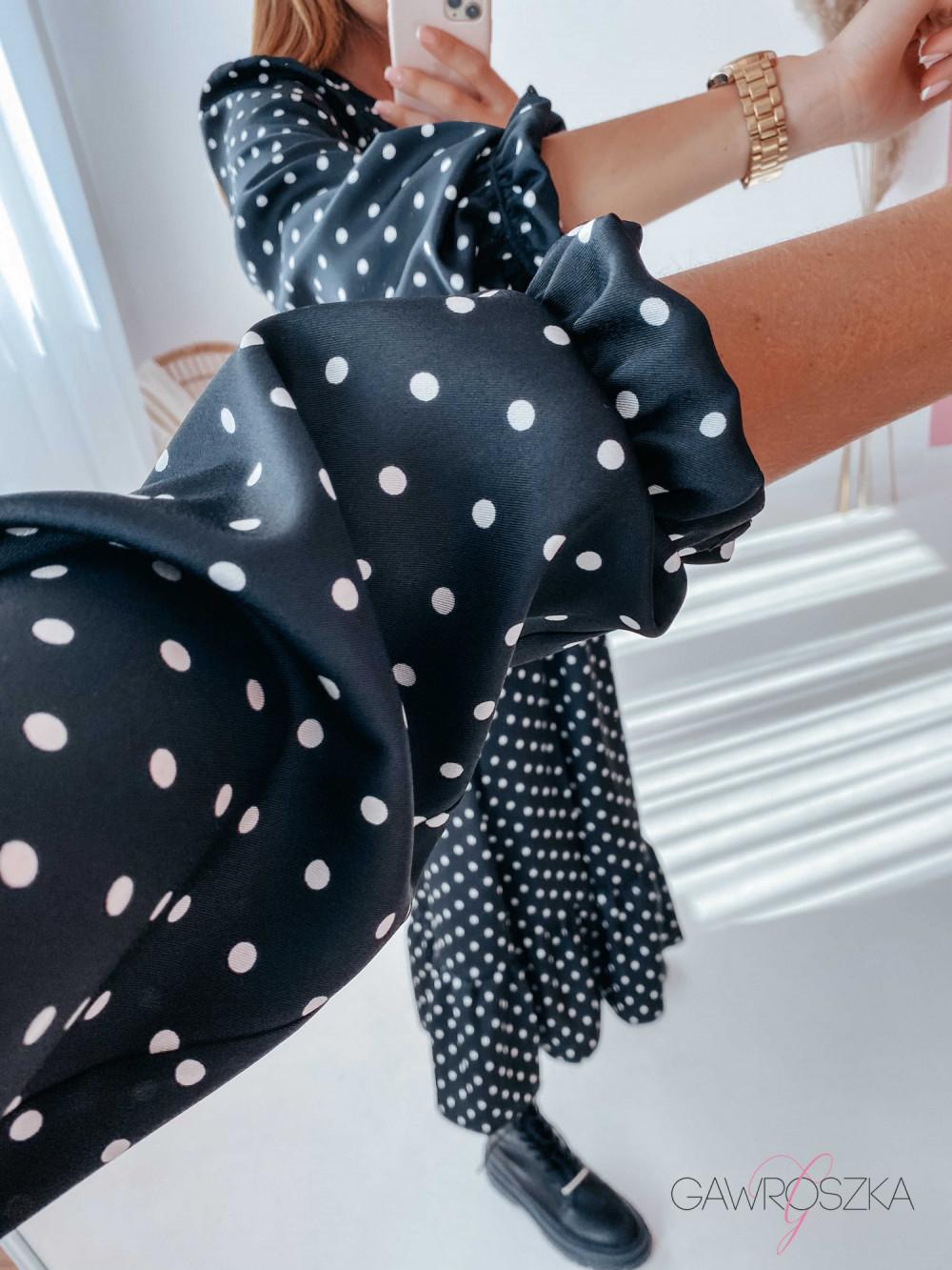 Sukienka Megi Midi Premium - czarna w białe groszki 5
