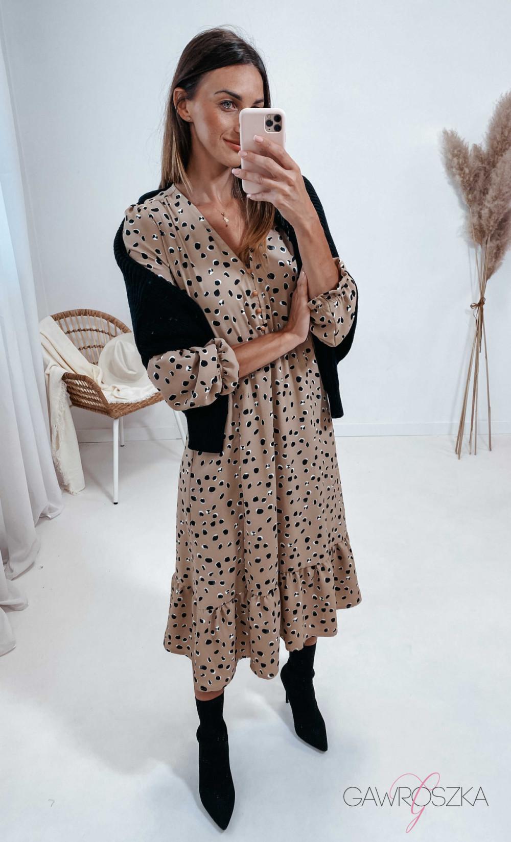 Sukienka Megi Midi Premium - beżowa w kamyczki 1