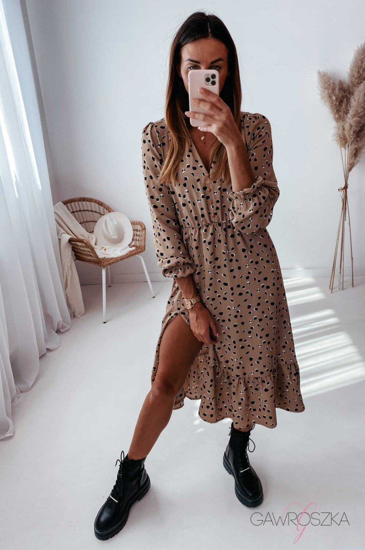 Sukienka Megi Midi Premium - beżowa w kamyczki 2