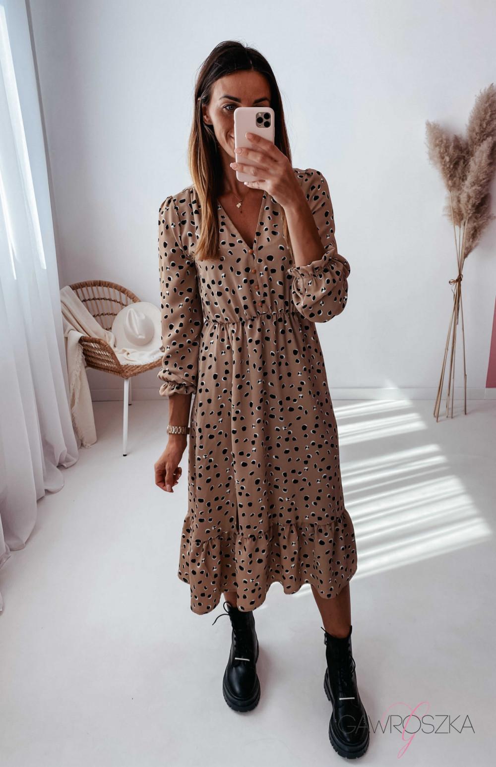 Sukienka Megi Midi Premium - beżowa w kamyczki 3