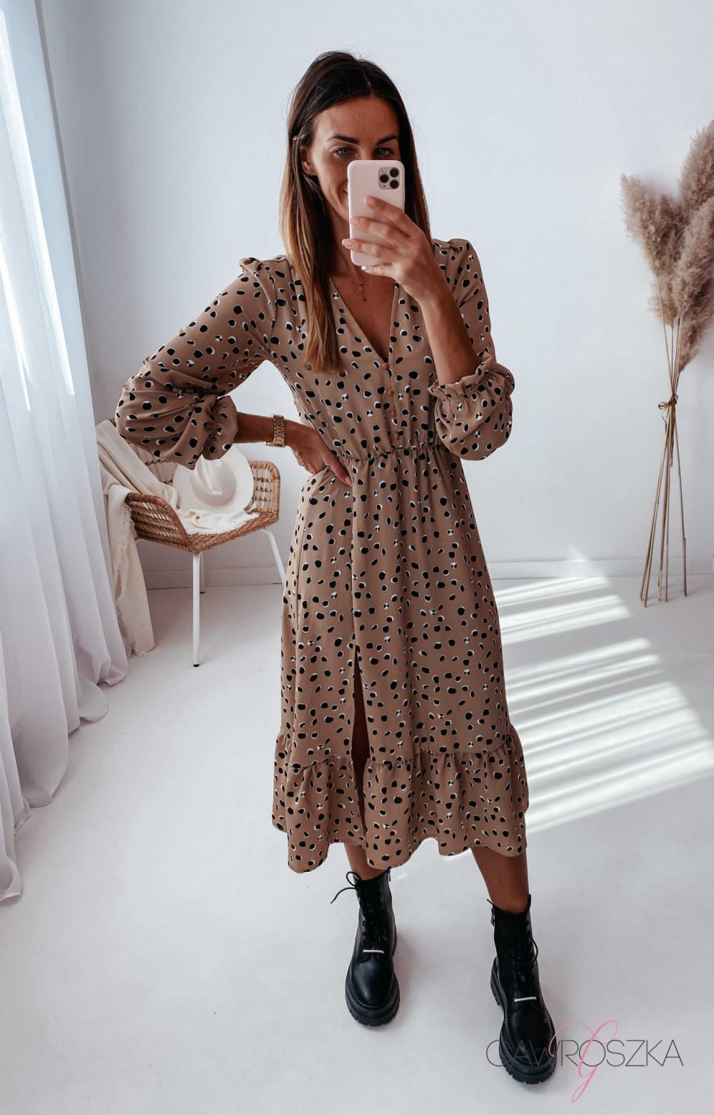 Sukienka Megi Midi Premium - beżowa w kamyczki 4