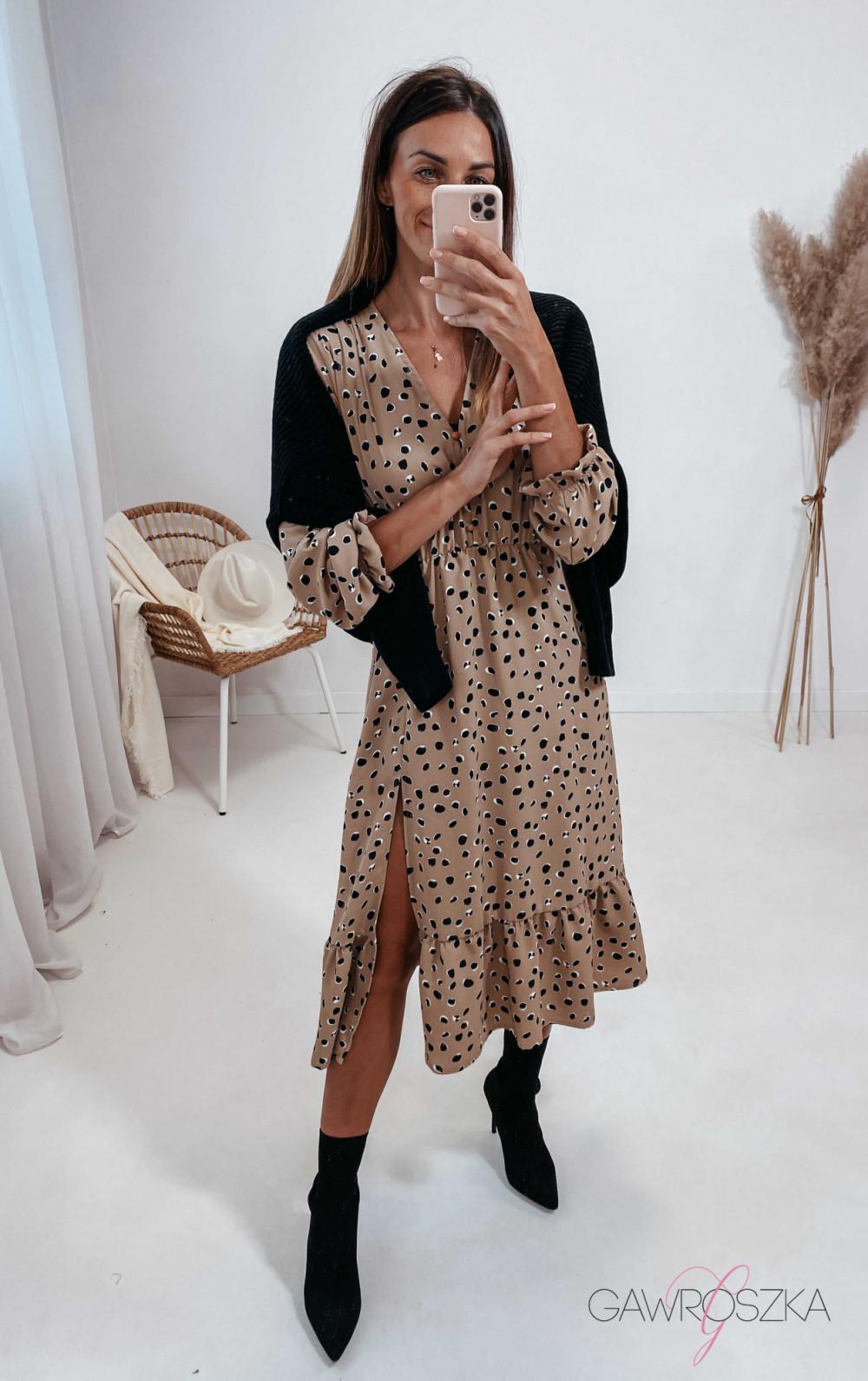 Sukienka Megi Midi Premium - beżowa w kamyczki 5