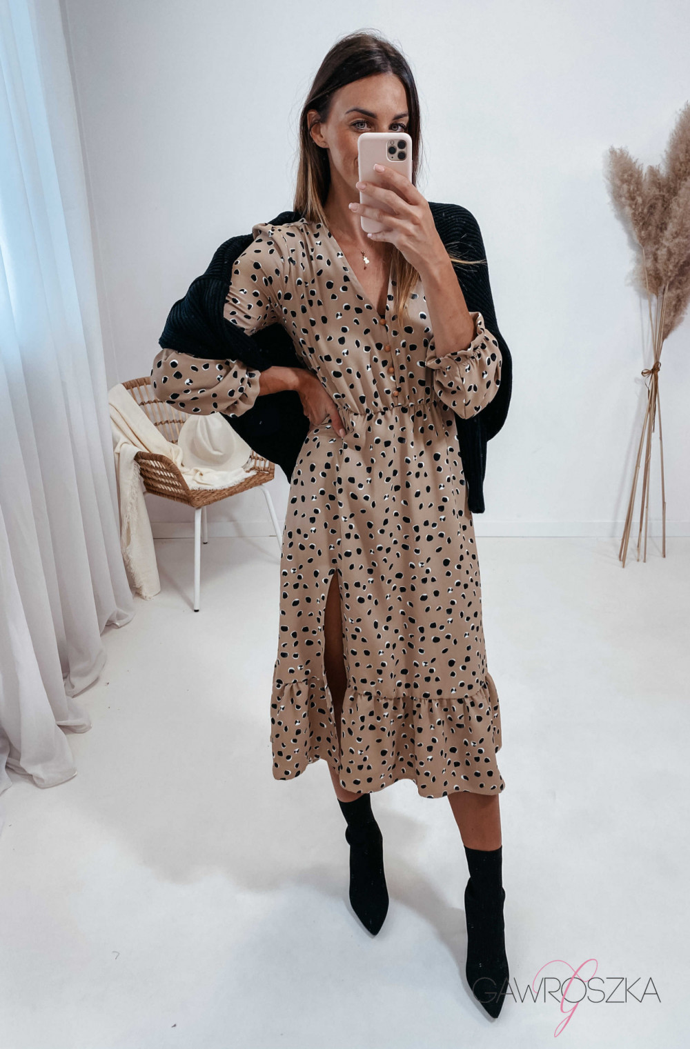 Sukienka Megi Midi Premium - beżowa w kamyczki 7