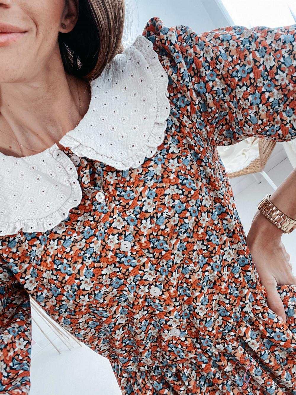 Sukienka z haftowanym kołnierzykiem - kolorowe kwiaty 4