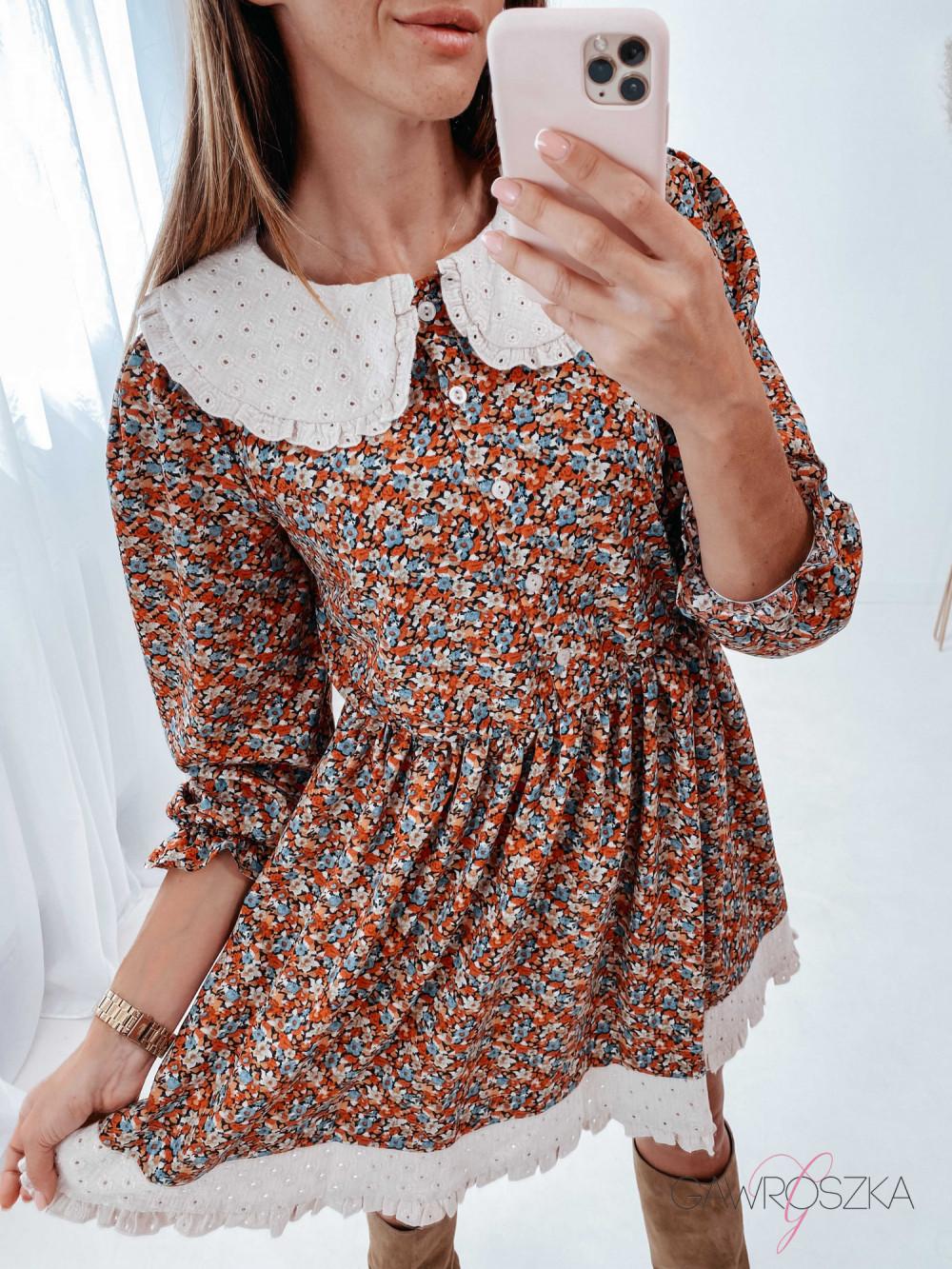 Sukienka z haftowanym kołnierzykiem - kolorowe kwiaty 5