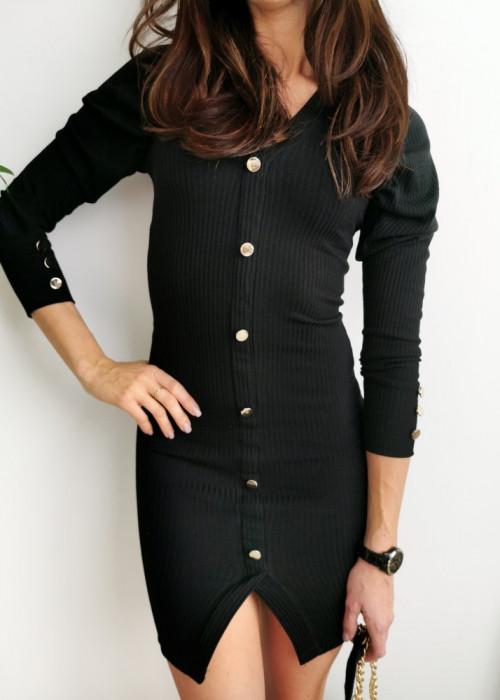 Sukienka mała czarna ze złotymi guzikami