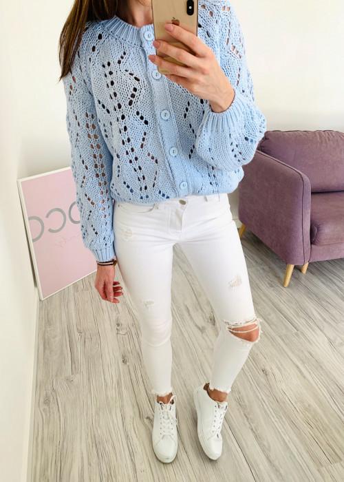 Spodnie jeans z dziurami - białe