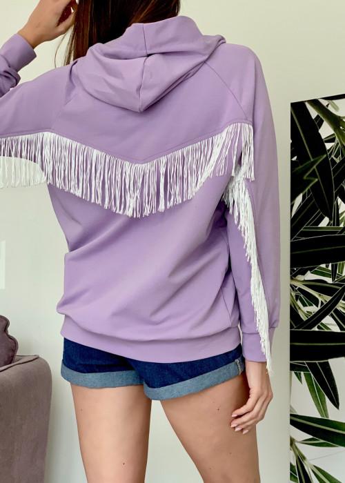 Bluza z kapturem i frędzlami premium- fiolet