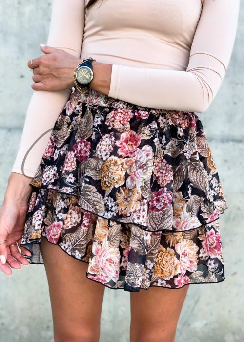 Szyfonowa spódnica - jesienne kwiaty