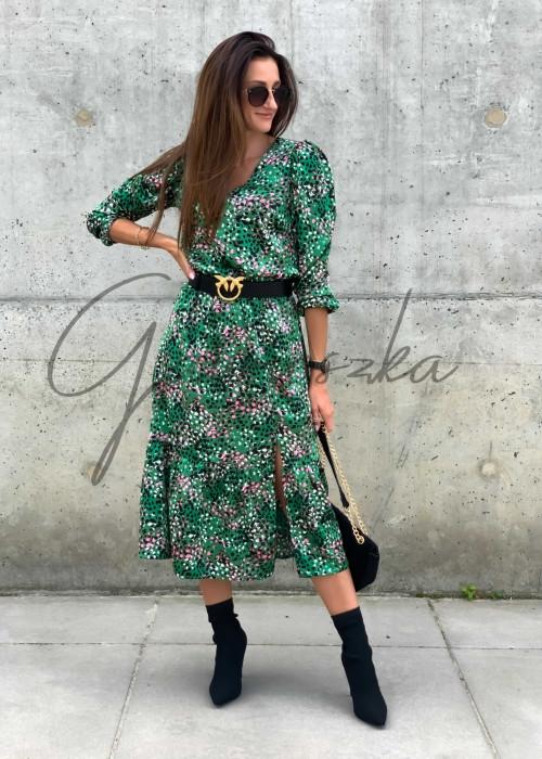 Sukienka midi Jovi -green spots
