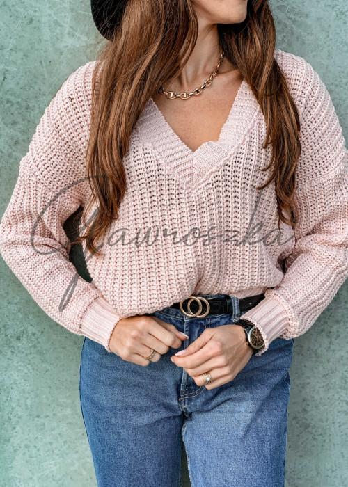 Jednolity sweter o krótszym kroju - róż