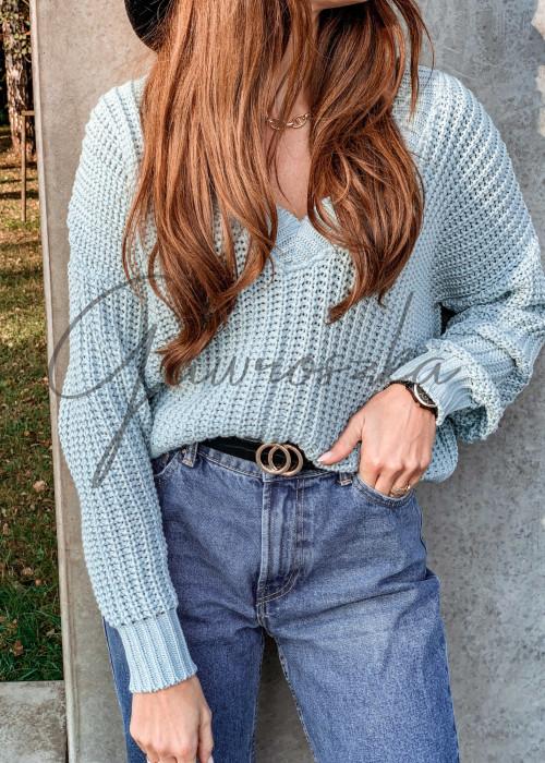 Jednolity sweter o krótszym kroju - turkus