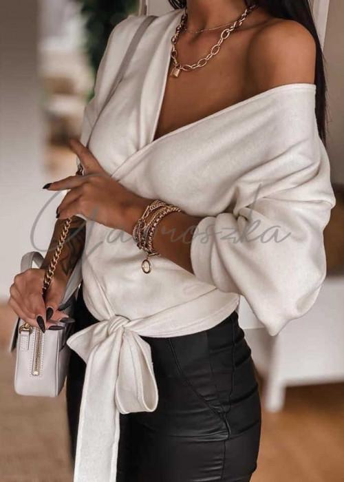 Wiązany sweterek - biały