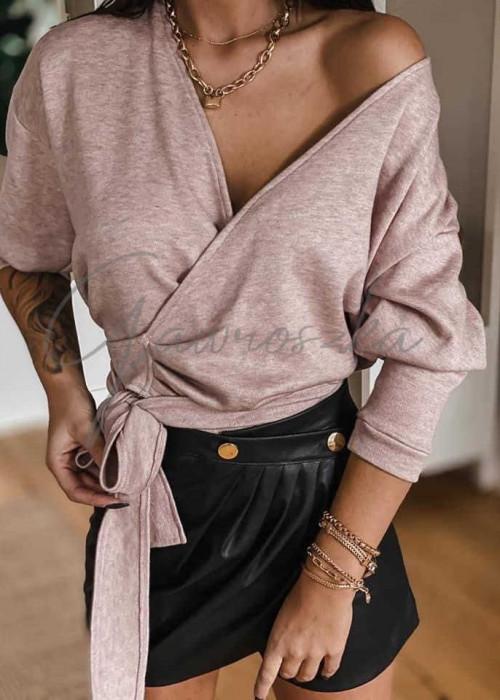 Wiązany sweterek - puder róż