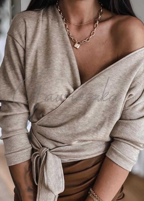 Wiązany sweterek - beż