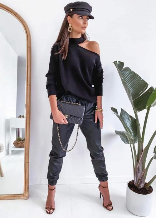 Sweter z hokerem FOR YOU - czarny