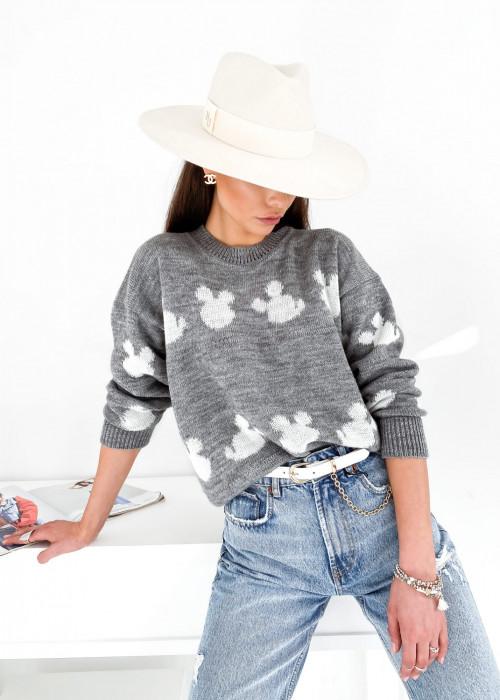 Sweter FOR YOU - szary z białe myszki