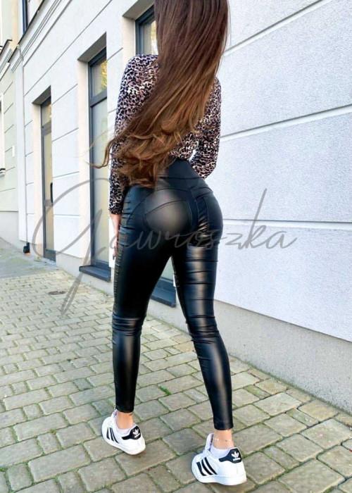 Leginsy push up skóra - czarne