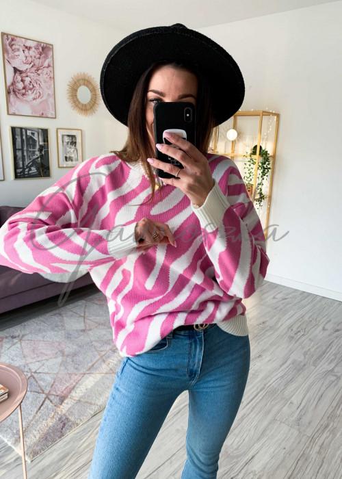 Sweter dwukolorowy - róż