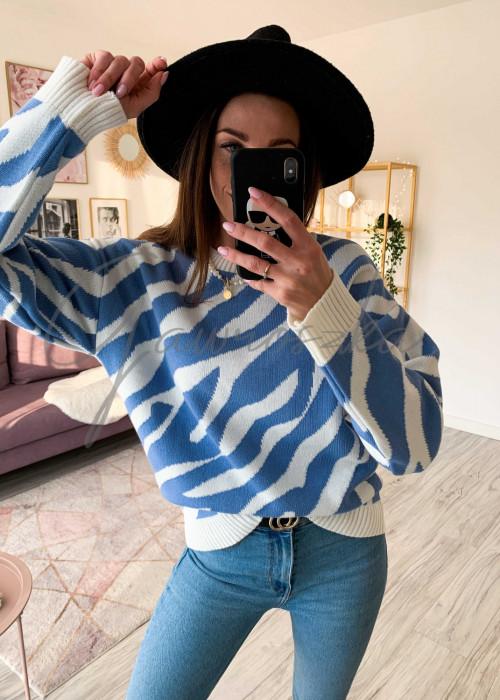 Sweter dwukolorowy - niebieski
